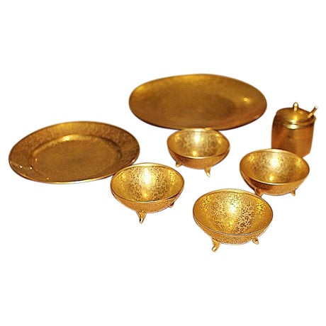 All-Over-Gold Serving Set - 7 Pieces For Sale