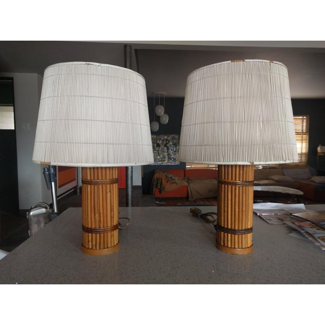 Vintage 1940's Rattan Lamps - A Pair For Sale - Image 4 of 10