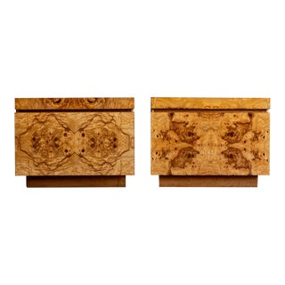 1970s Mid Century Modern Lane Olive Burl Wood Nightstands - a Pair For Sale