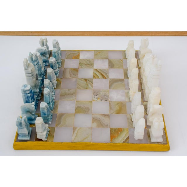 Vintage Aztec Blue and White Onyx Marble Chess Set For Sale - Image 12 of 12