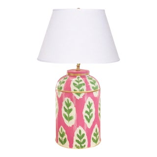 Dana Gibson Louvre Ikat in Pink Tea Caddy Lamp For Sale