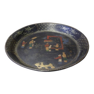 Chinese Black Lacquer Golden Scenery Round Tray Display Art