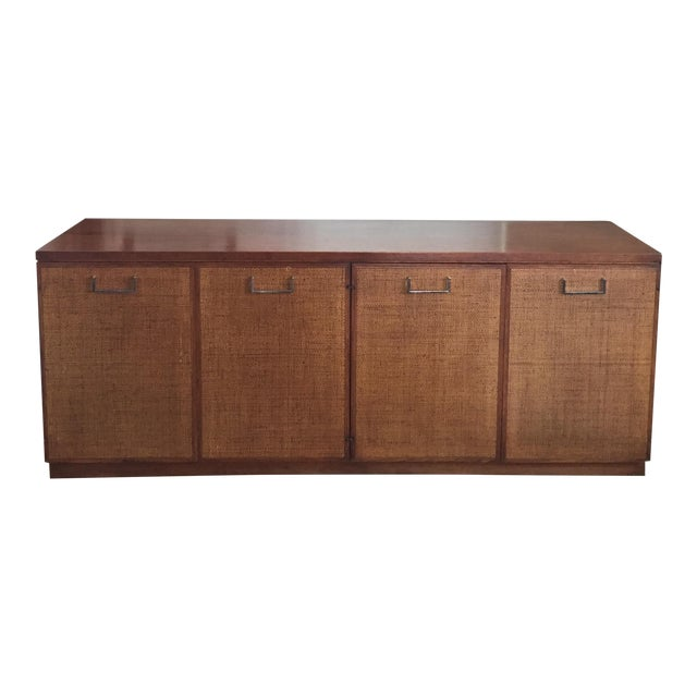 Founders Style Mid-Century Cane & Walnut Buffet For Sale