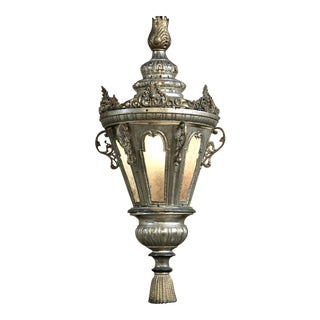 19th Century Venetian Silver Plated Brass Lantern Chandelier, Ca. 1850's For Sale
