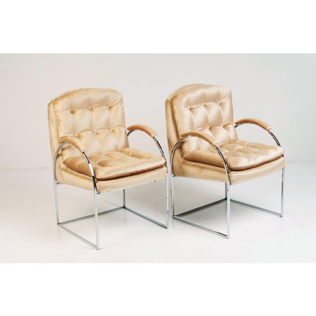 Hollywood Regency 20th Century Milo Baughman Style Blush Velvet Chrome Chairs - a Pair For Sale - Image 3 of 7
