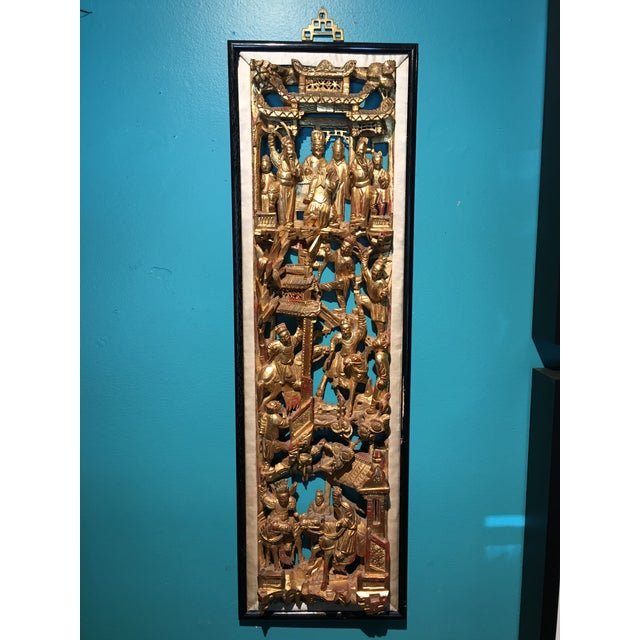 19th Century Carved Chinese Giltwood Wall Panel For Sale - Image 10 of 10