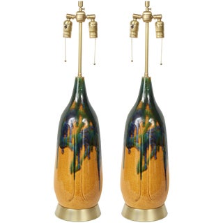 1960s Danish Modern Drip Glaze Lamps - a Pair For Sale