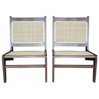Pair of Cane Chairs in the Style of Pierre Jeanneret For Sale