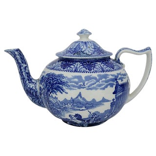 Antique Cauldon Chariots Flow Blue Teapot For Sale