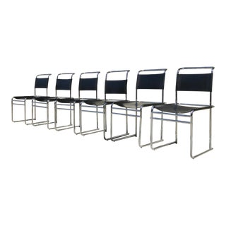 Marcel Breuer B5 Style Leather Dining Chairs - Set of 6 For Sale