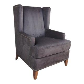 Safavieh Brown Velvet Upholstered Wingback Arm Chair For Sale