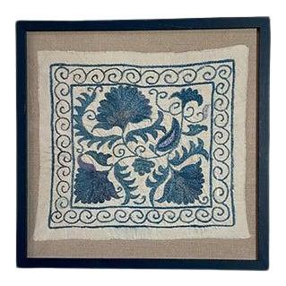 Framed Antique Suzanni Floated on Belgian Linen For Sale