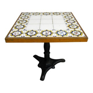 Oak Tile and Metal Square Center Table For Sale