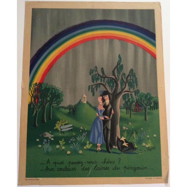 """Raymond Peynet Original Lithograph """"The Lovers, the Tree, the Rainbow"""" For Sale In Miami - Image 6 of 6"""