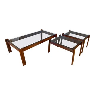 Percival Lafer Designed Coffee and End Tables in Jacaranda Rosewood - Set of 3 For Sale