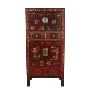 Black and Red Chinese Chinoiserie Lacquered Cabinet