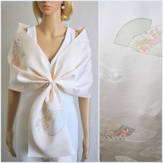 Japanese Rinzu Silk Kimono Fabric For Sale - Image 5 of 6
