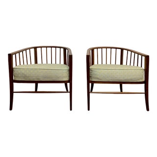 1960s Vintage Walnut Barrel Chairs - a Pair For Sale