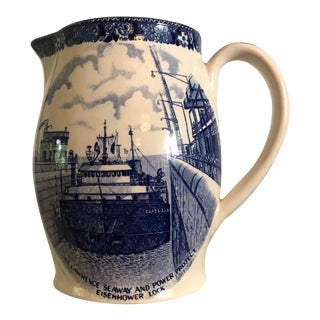 Vintage English Staffordshire Blue & White Pitcher For Sale