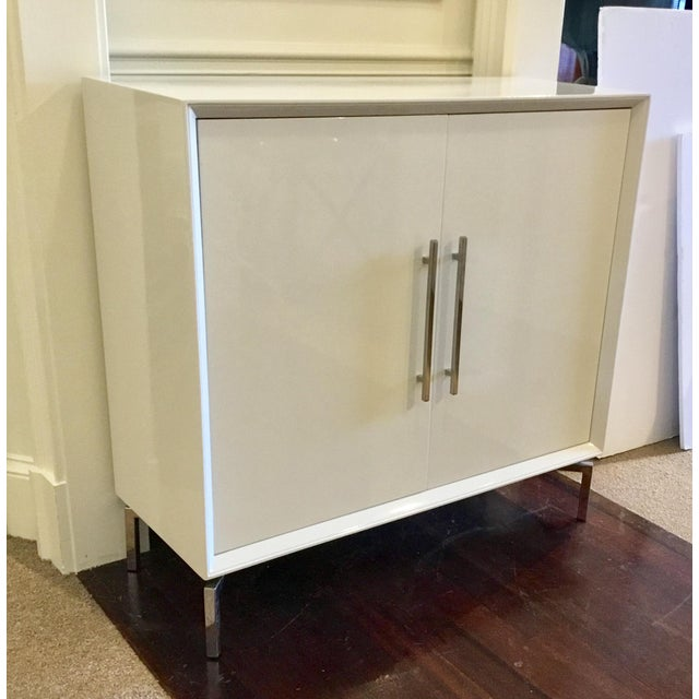 Gold Contemporary White Lacquer Mitchell Gold Ming Storage Chest For Sale - Image 8 of 8