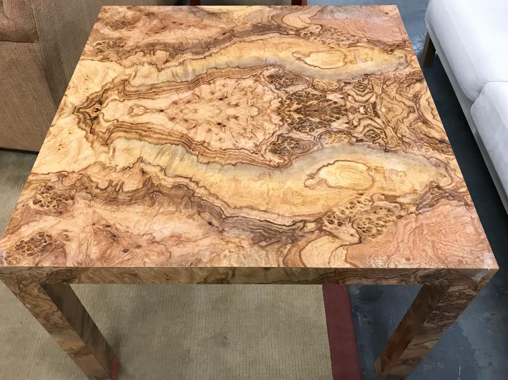 Mid Century Milo Baughman Style Burlwood Table   Image 3 Of 10