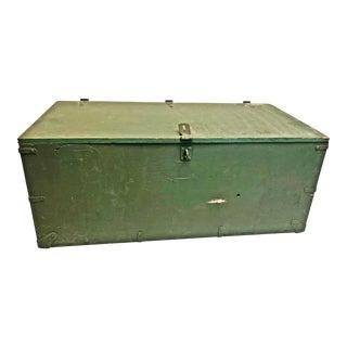 Vintage Industrial Green Wood Military Foot Locker Trunk