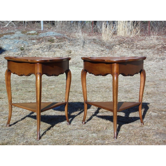 Vintage French Style Leather Top Triangle End Tables - A Pair For Sale In Providence - Image 6 of 12