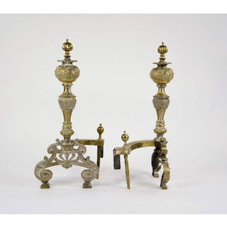 19th Century Victorian Ornate Brass Andirons - a Pair Preview