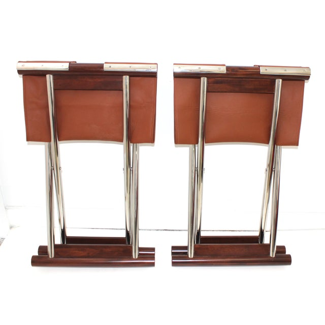Metal Vintage Folding X-Sling Stools in Leather, Stainless Steel and Mahogany a Pair For Sale - Image 7 of 13