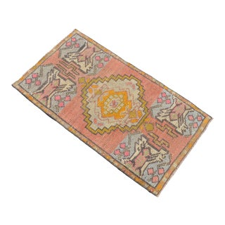 Hand Made Turkish Small Rug Distressed Low Pile Mat Bath Rug Kitchen Decor - 20'' X 36'' For Sale