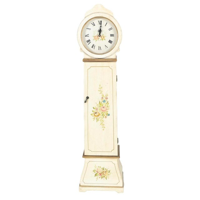 White Grandmother Wooden Clock With Hidden Shelves For Sale - Image 10 of 10