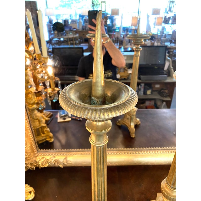Metal 19th. Century Brass Cathedral Candlesticks - a Pair For Sale - Image 7 of 8