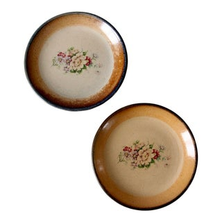 Vintage Floral Pottery Plates - a Pair For Sale