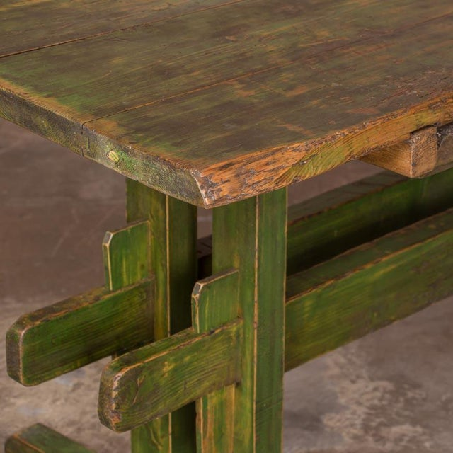 19th Century Rustic Green Painted Harvest/Farm Trestle Table For Sale In Denver - Image 6 of 9