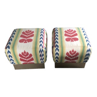 Vintage Brunschwig & Fils Fabric Poofs- A Pair For Sale