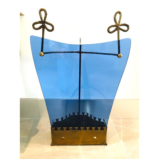 Blue Italian Glass and Gilt Iron Umbrella Stand by Fontana Arte, 1950s For Sale - Image 8 of 13