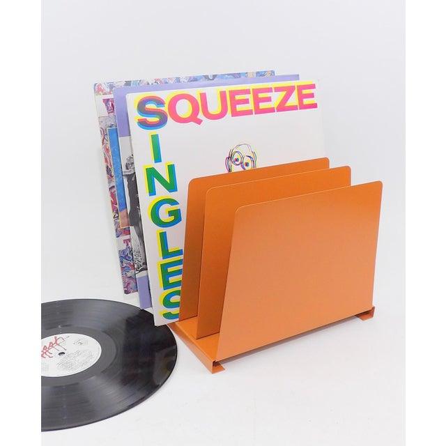 Orange Wooden Desk Organizer - Vinyl Record Rack - Image 4 of 10