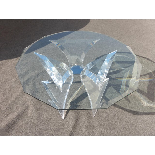 1970s Designer Signed Lion in Frost Triple Butterfly Lucite and Glass Coffee Table For Sale - Image 5 of 13