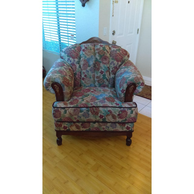 2010s Traditional Floral Upholstered Club Chair For Sale - Image 5 of 5