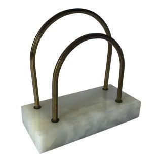 Vintage Marble and Brass Desk Valet For Sale