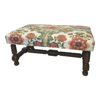 Brunschwig & Fils Turned Walnut Bench With Floral Covering For Sale