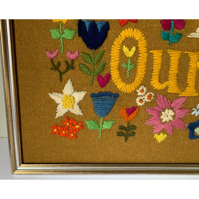 1960s Hippie God Bless Our Pad Framed Crewelwork For Sale - Image 4 of 9