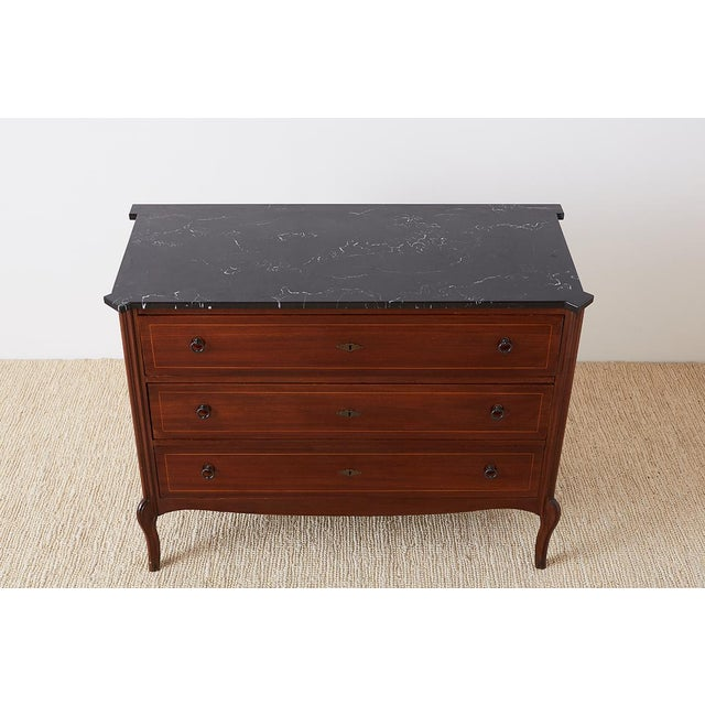 Neoclassical Neoclassical Marble Top Commode Chest of Drawers For Sale - Image 3 of 13