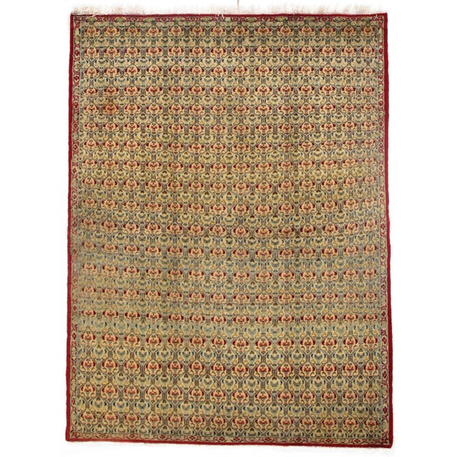 1930s Antique Persian Isfahan Area Rug - 5′ × 6′9″ For Sale - Image 5 of 5