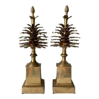 Brass Pinecone Obelisks - a Pair For Sale