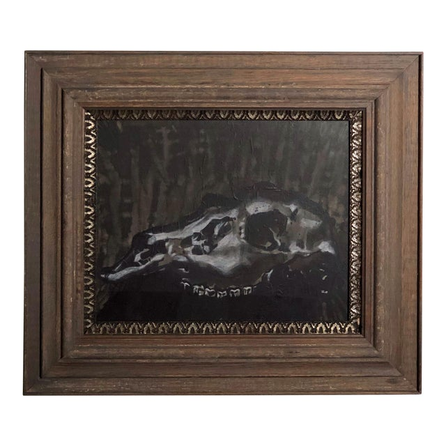 Black and White Watercolor of an Animal Skull For Sale