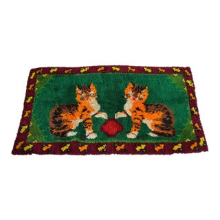 """Hand Knotted Vintage Shaggy Rug - Kitten Play Theme Rare Rug - 3'9"""" X 6'11"""" For Sale"""
