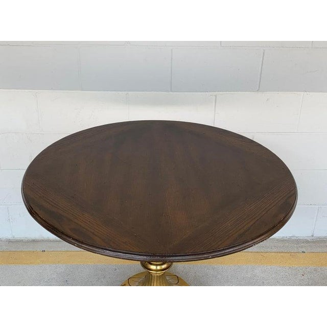Gold Antique English Brass and Mahogany Lion Motif Pub Table For Sale - Image 8 of 10