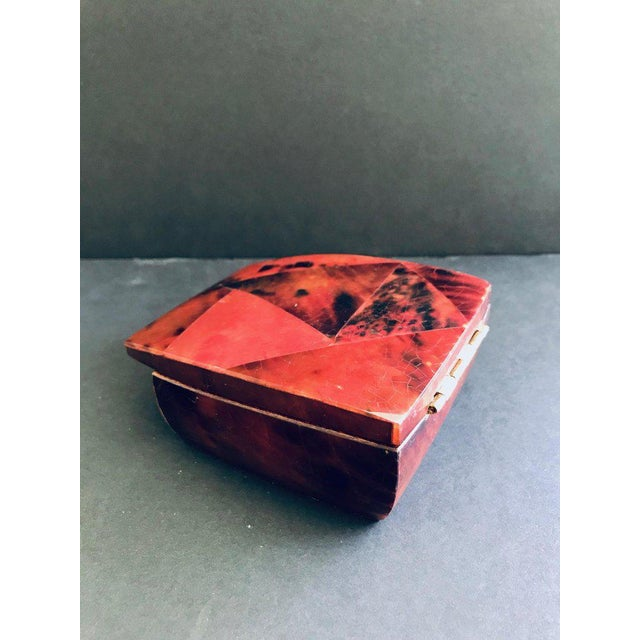 R & Y Augousti Mosaic Trinket Box in Exotic Red Pen-Shell
