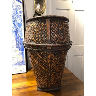20th Century Indonesian Handwoven Rattan and Bamboo Hauling Basket Preview